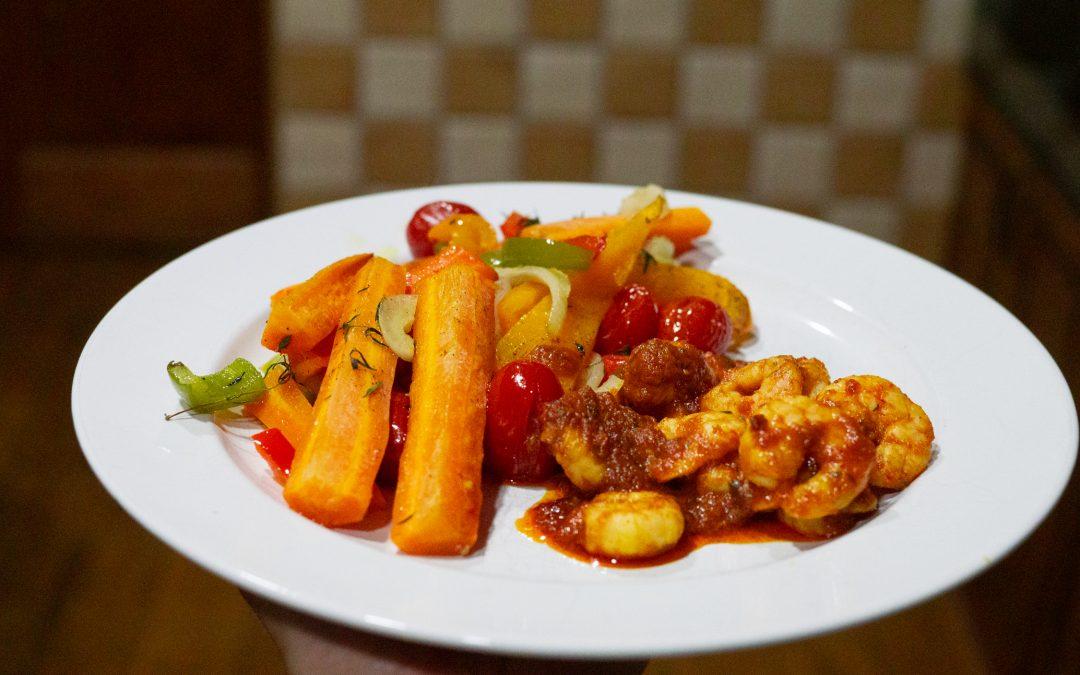 Pečená zelenina s krevetami
